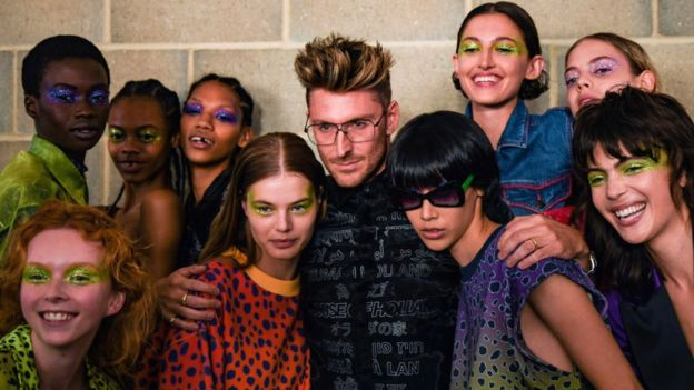 Henry Holland with his models backstage at LFW