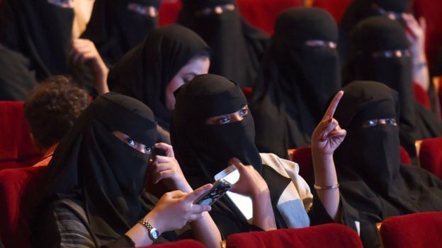 Saudi women attend a film festival at King Fahad Culture Center in Riyadh, 20 October 2017