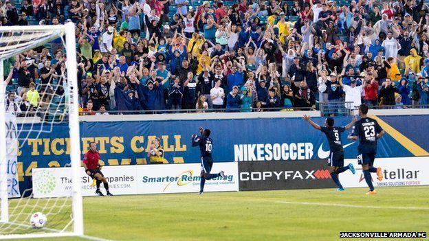 Jacksonville Armada FC fans celebrate a goal