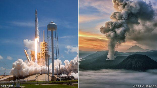 Falcon rocket and volcano eruption