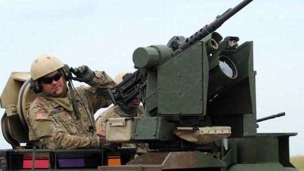 Американский танкист на учениях в Грузии