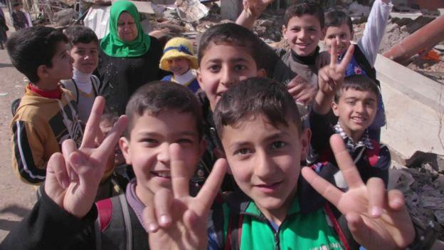 Schoolchildren in Mosul