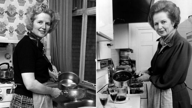 On the left is Margaret Thatcher in the kitchen of her London home shortly before becoming Tory leader in 1975 (PA) On the right is Margaret Thatcher in her Downing Street kitchen in 1987 (PA)
