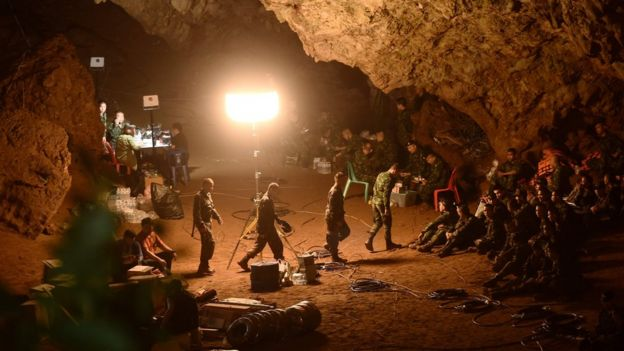 Thai soldiers gather in Tham Luang cave
