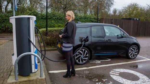 Punto de carga de autos eléctricos en Milton Keynes, Reino Unido.