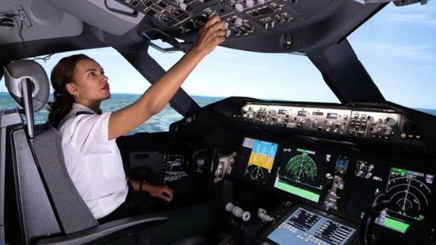 Captain Amsale Gualu in the cockpit