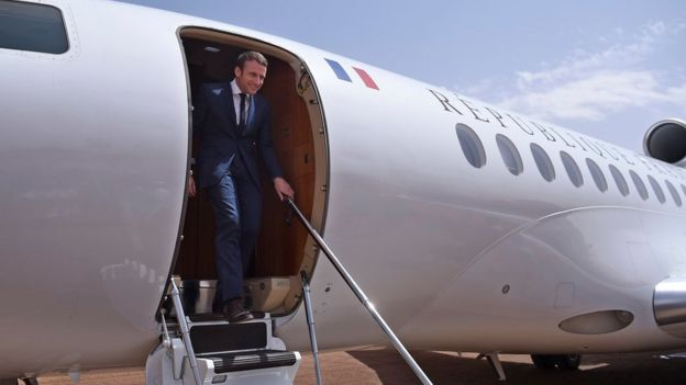French President Emmanuel Macron arrives for a visit to the troops of France's Barkhane counter-terrorism operation in Africa's Sahel region in Gao, northern Mali, 19 May 2017.
