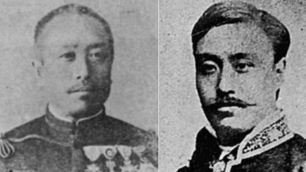 یوشیدا ماساهارو، دیپلمات ژاپنی (سمت راست) و نوبویوشی فوروکاوا نماینده نظامی هیات اعزامی