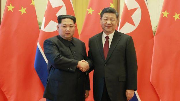 Kim Jong-un y Xi Jinping en Pekín.