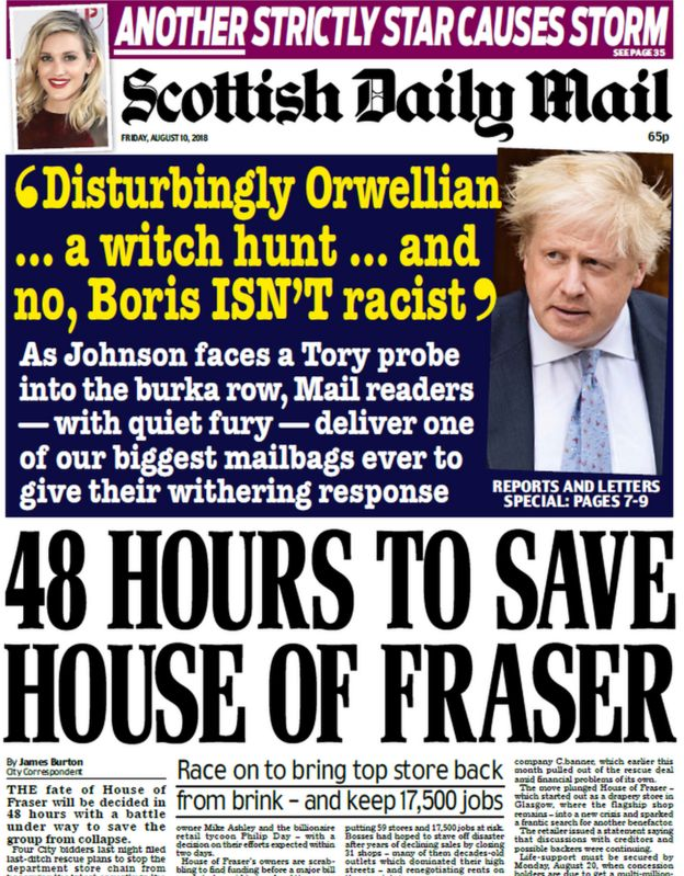 Scotland's papers: The battle for House of Fraser and soldier's