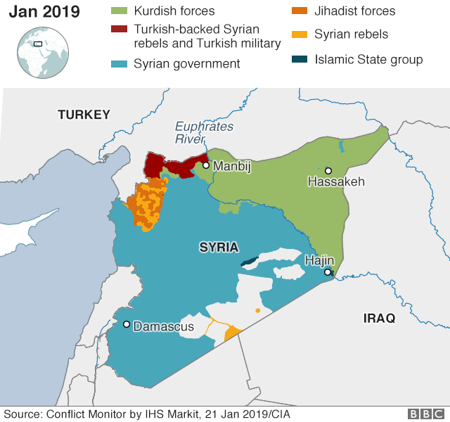 Map showing who controls where in Syria, 21 January 2019