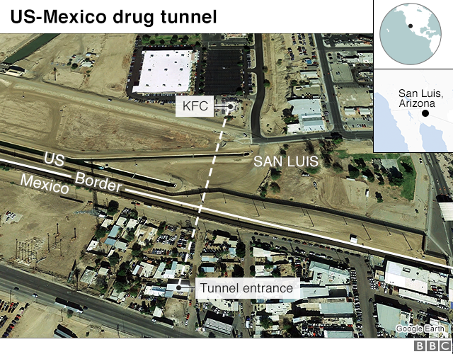 Map of US-Mexico drug tunnel