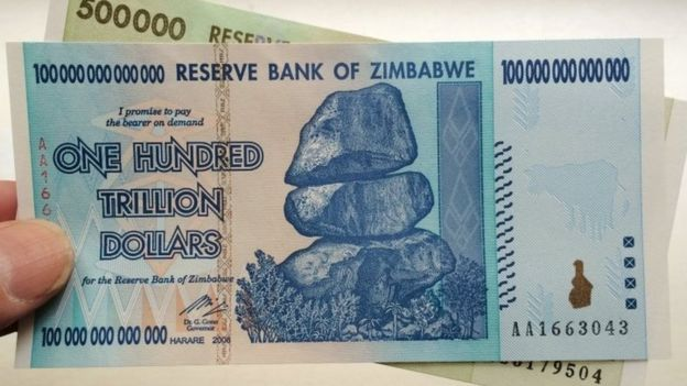 Zimbabwe 100 trillion and 500 thousand dollar banknotes (2015)