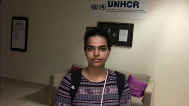 Rahaf Mohammed Al-qunun at the UN building in Bangkok, before departing to the airport
