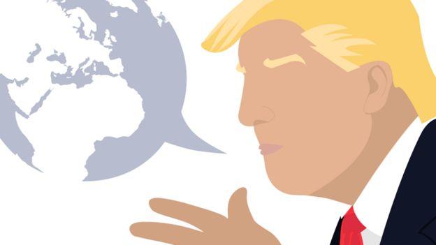 Donald Trump'u gösteren bir karikatür ve bir kabarcık şeklinde bir küre