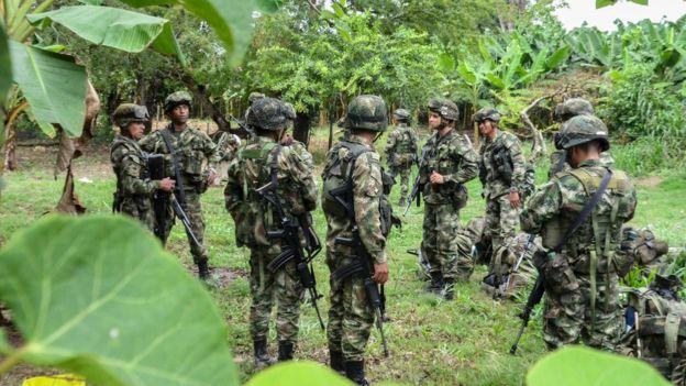 23 Mart 2017'de Venezuela sınırındaki Kolombiyalı askerler
