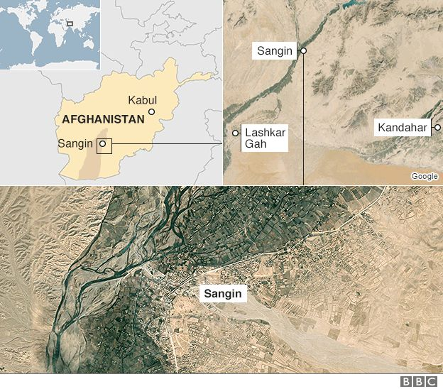 Map showing the location of Sangin in Afghanistan