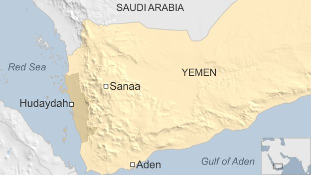 Map shows the Red Sea port of Hudaydah in Yemen