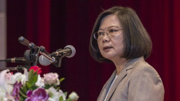 President Tsai Ing-wen speaking at a conference in Taipei, Taiwan, on 02 July 2018.