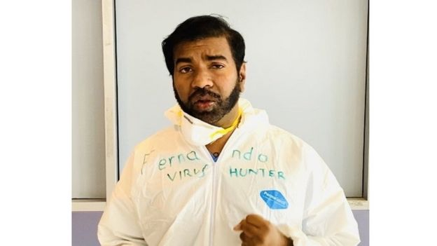 Dr. Rajeev Fernando working at an emergency hospital set up in New York