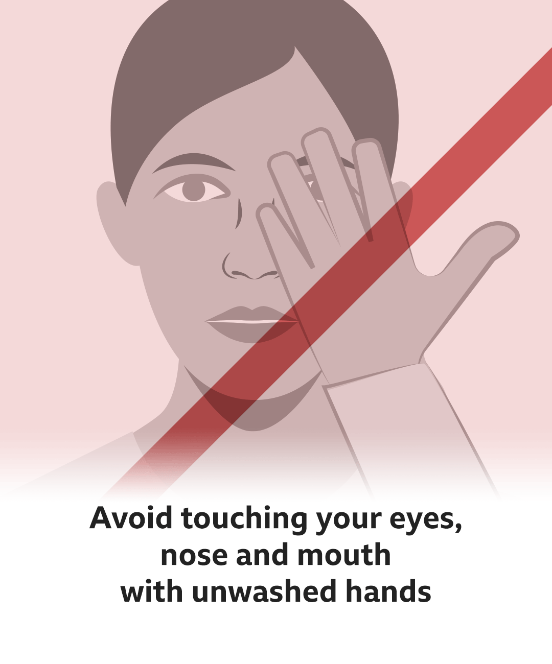 Text reads: Avoid touching your eyes, nose and mouth with unwashed hands