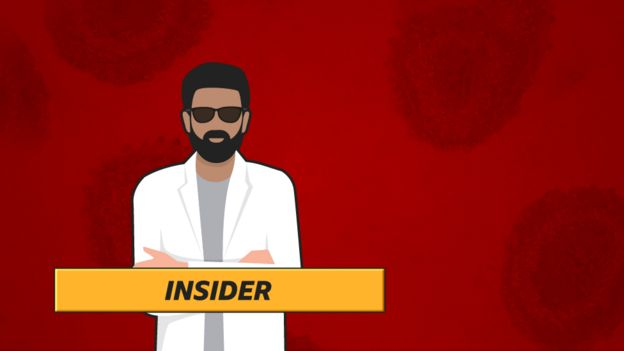 """The Insider"": Cartoon man in lab coat and sunglasses on red background."