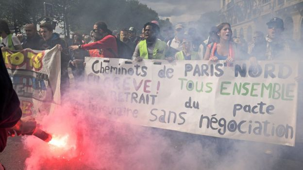 Thousands of people take to the streets during the May Day demonstrations on 1 May 2018 in Paris, France.