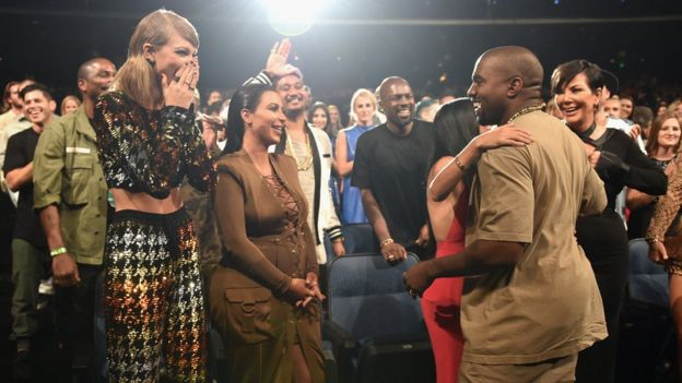 Singer-songwriter Taylor Swift, TV personalities Kim Kardashian, Kourtney Kardashian, rapper Kanye West and TV personality Kris Jenner in the audience during the 2015 MTV Video Music Awards