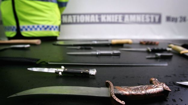 knives displayed as part of a national amnesty