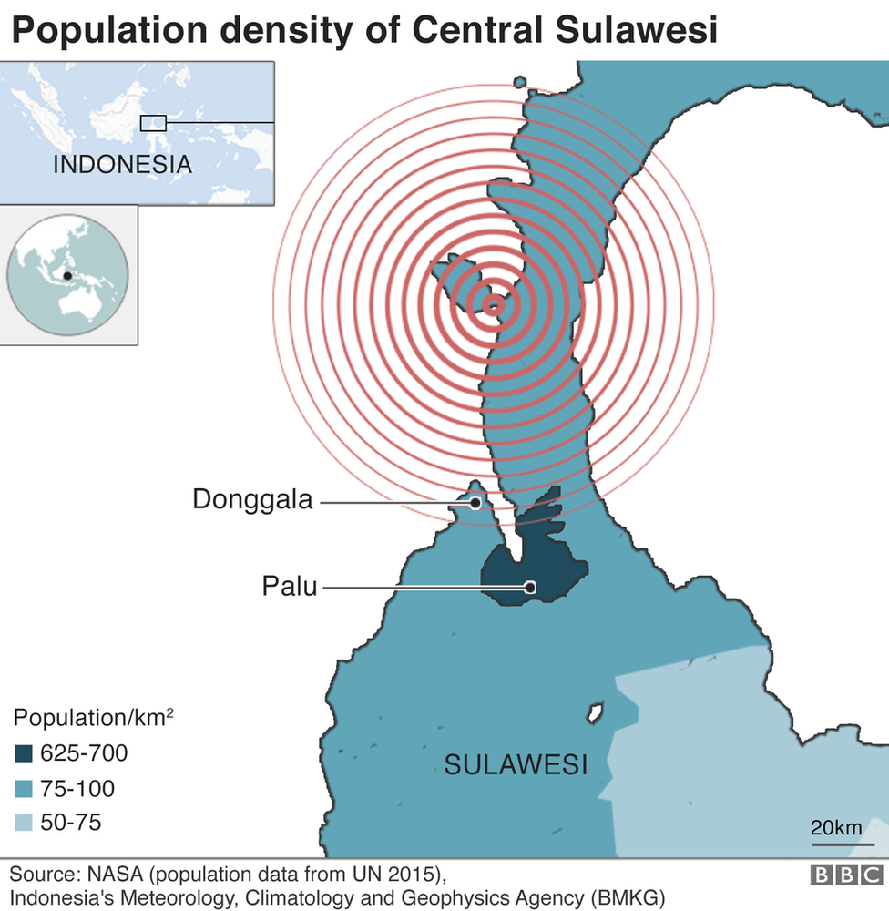 A map showing the population in Sulawesi