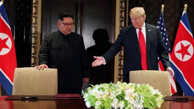 Kim y Trump en Singapur