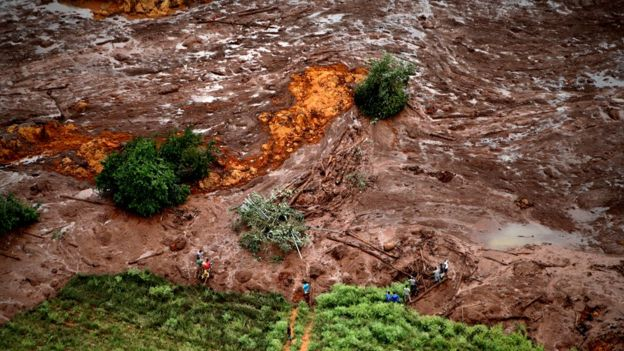 Aerial view of mud and waste from the disaster caused by a dam spill in Brumadinho, Minas Gerais, Brazil, 26 January 2019