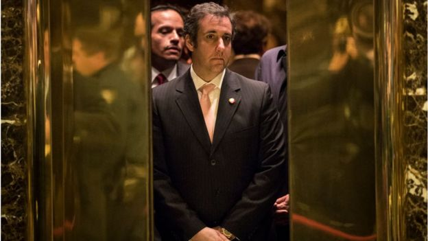 Michael Cohen in an elevator at Trump Tower