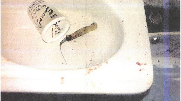 Bent knife in evidence photo