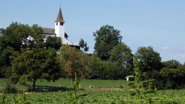 Paisagem do vilarejo de Büsingen