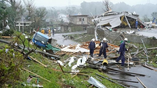 Damage caused by tornado east of Tokyo. 12 Oct 2016