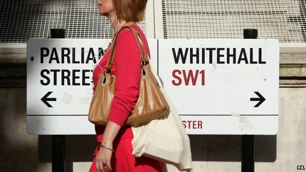 A pedestrian walking past a sign on Whitehall, London