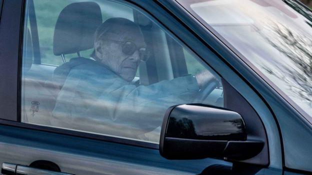 Duke of Edinburgh driving near Sandringham on 19 January 2019