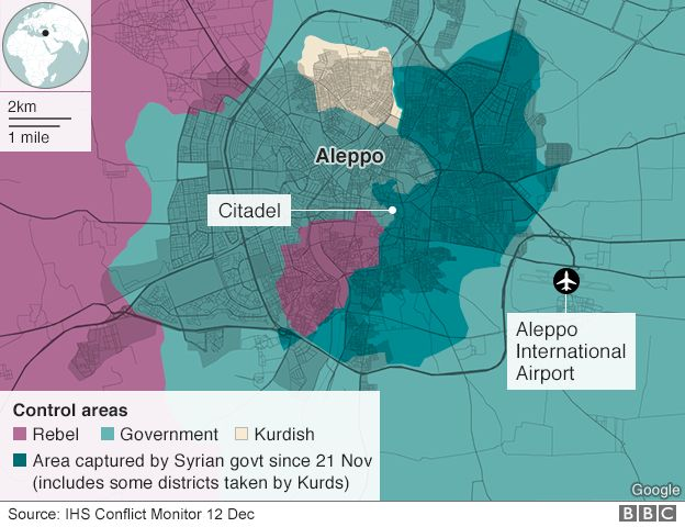 Map showing control of Aleppo (12 December 2016)