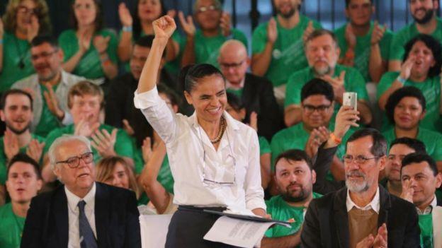 Marina Silva ao ser aclamada candidata da Rede Sustentabilidade