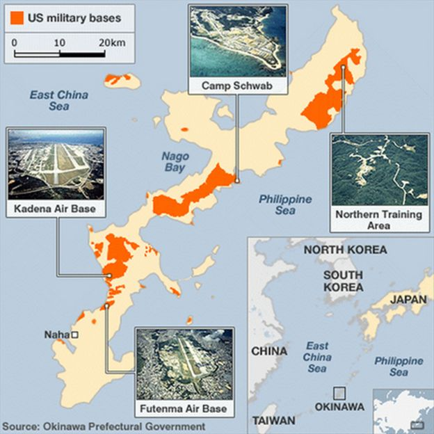 Marine Base In Japan Map.Where Japanese Fight A Us Military Base With Kayaks Bbc News