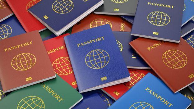 Varios pasaportes de diferentes colores.