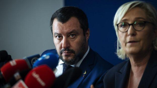 Retrato de Matteo Salvini e Marine Le Pen