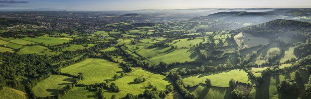 Aerial picture of countryside in Cotswolds, Gloucestershire