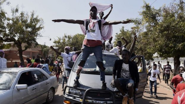 Supporters of newly elected President Umaro Cissoko Embalo celebrate on 1 January, 2020.