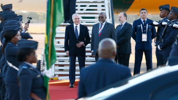 Temer em chegada à cúpula na África do Sul