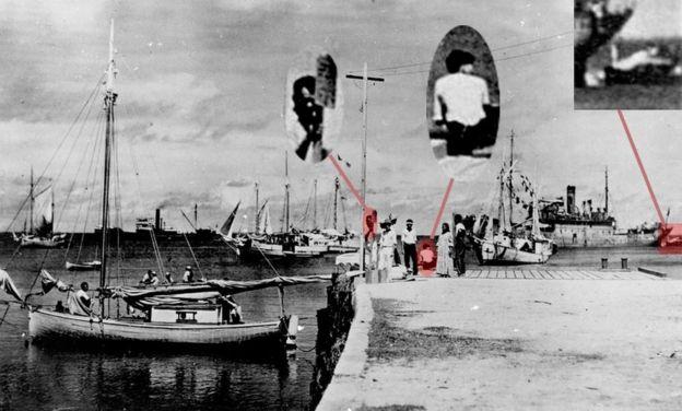 Imagem do arquivo nacional americano que mostra o navegador Fred Noonan, Amelia Earhart e seu avião