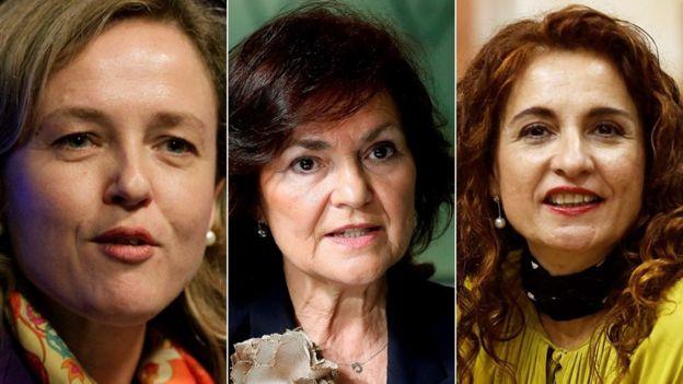 Kabinede kilit konumlardaki üç kadın: Ekonomi Bakanı Nadia Calviño (solda), Başbakan Yardımcısı Carmen Calvo ve Maliye Bakanı María Jesús Montero