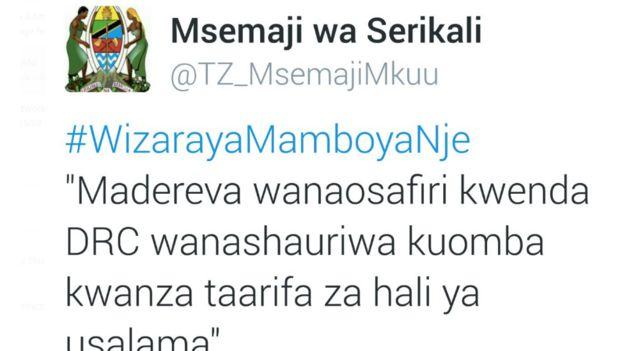 Chapisho la mtandao wa Twitter wa msemaji wa serikali ya Tanzania