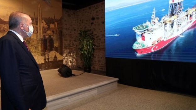 President Erdogan in a call with the survey ship Fatih in the Black Sea as he announced the discovery of big gas deposits